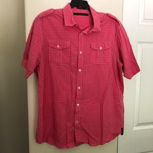 Sean John Pink Plaid Short Sleeve Button Up Shirt